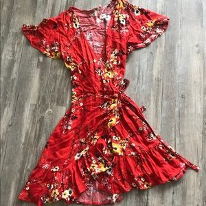 Red Floral Wrap Dress, size M